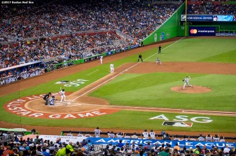 MIAMI, FL - JULY 11: Chris Sale #41 of the Boston Red Sox delivers during the second inning of the 88th MLB All-Star Game at Marlins Park on July 11, 2017 in Miami, Florida (Photo by Billie Weiss/Boston Red Sox/Getty Images) *** Local Caption *** Chris Sale