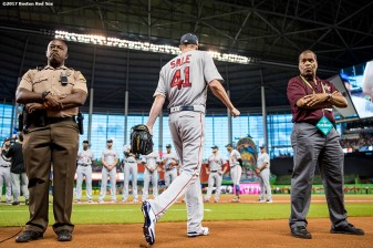 MIAMI, FL - JULY 11: Chris Sale #41 of the Boston Red Sox walks to the bullpen to warm up before starting the 88th MLB All-Star Game at Marlins Park on July 11, 2017 in Miami, Florida (Photo by Billie Weiss/Boston Red Sox/Getty Images) *** Local Caption *** Chris Sale
