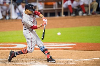 MIAMI, FL - JULY 11: Mookie Betts #50 of the Boston Red Sox bats during the third inning of the 88th MLB All-Star Game at Marlins Park on July 11, 2017 in Miami, Florida (Photo by Billie Weiss/Boston Red Sox/Getty Images) *** Local Caption *** Mookie Betts