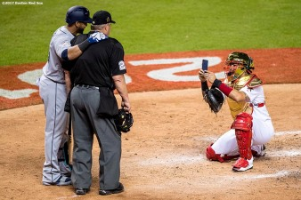 MIAMI, FL - JULY 11: Yadier Molina #4 of the St. Louis Cardinals takes a photo of home plate umpire Joe West and Nelson Cruz #23 of the Seattle Mariners at home plate during the 88th MLB All-Star Game at Marlins Park on July 11, 2017 in Miami, Florida (Photo by Billie Weiss/Boston Red Sox/Getty Images) *** Local Caption *** Yadier Molina; Joe West; Nelson Cruz