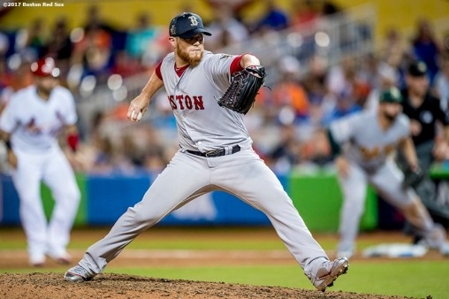 MIAMI, FL - JULY 11: Craig Kimbrel #46 of the Boston Red Sox delivers during the ninth inning of the 88th MLB All-Star Game at Marlins Park on July 11, 2017 in Miami, Florida (Photo by Billie Weiss/Boston Red Sox/Getty Images) *** Local Caption *** Craig Kimbrel