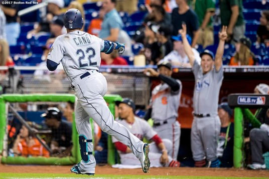 MIAMI, FL - JULY 11: Robinson Cano #22 of the Seattle Mariners reacts after hitting a go ahead solo home run during the ninth inning of the 88th MLB All-Star Game at Marlins Park on July 11, 2017 in Miami, Florida (Photo by Billie Weiss/Boston Red Sox/Getty Images) *** Local Caption *** Robinson Cano
