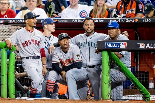MIAMI, FL - JULY 11: Mookie Betts #50 of the Boston Red Sox, Corey Dickerson #10 of the Tampa Bay Rays, Jonathan Schoop #6 of the Baltimore Orioles, Nelson Cruz #23 of the Seattle Mariners, and Salvador Perez #13 of the Kansas City Royals react during the 88th MLB All-Star Game at Marlins Park on July 11, 2017 in Miami, Florida (Photo by Billie Weiss/Boston Red Sox/Getty Images) *** Local Caption *** Mookie Betts; Corey Dickerson; Jonathan Schoop; Nelson Cruz; Salvador Perez