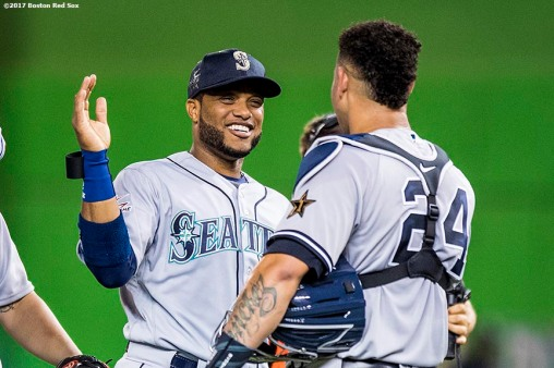 MIAMI, FL - JULY 11: Robinson Cano #22 of the Seattle Mariners high fives Gary Sanchez #24 of the New York Yankees after the 88th MLB All-Star Game at Marlins Park on July 11, 2017 in Miami, Florida (Photo by Billie Weiss/Boston Red Sox/Getty Images) *** Local Caption *** Robinson Cano; Gary Sanchez