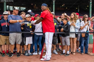BOSTON, MA - JULY 14: Hanley Ramirez #13 of the Boston Red Sox signs autographs before a game against the New York Yankees on July 14, 2017 at Fenway Park in Boston, Massachusetts. (Photo by Billie Weiss/Boston Red Sox/Getty Images) *** Local Caption *** Hanley Ramirez
