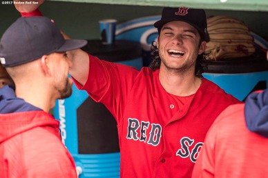 BOSTON, MA - JULY 14: Andrew Benintendi #16 of the Boston Red Sox reacts before a game against the New York Yankees on July 14, 2017 at Fenway Park in Boston, Massachusetts. (Photo by Billie Weiss/Boston Red Sox/Getty Images) *** Local Caption *** Andrew Benintendi