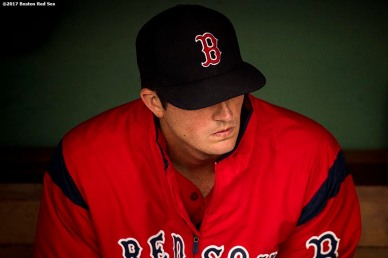 BOSTON, MA - JULY 14: Drew Pomeranz #31 of the Boston Red Sox looks on before a game against the New York Yankees on July 14, 2017 at Fenway Park in Boston, Massachusetts. (Photo by Billie Weiss/Boston Red Sox/Getty Images) *** Local Caption *** Drew Pomeranz