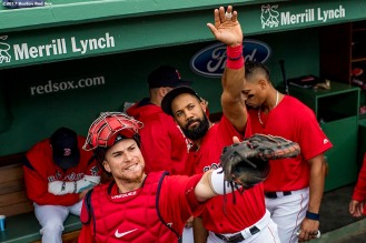 BOSTON, MA - JULY 14: Christian Vazquez #7 and Chris Young #30 of the Boston Red Sox react before a game against the New York Yankees on July 14, 2017 at Fenway Park in Boston, Massachusetts. (Photo by Billie Weiss/Boston Red Sox/Getty Images) *** Local Caption *** Christian Vazquez; Chris Young