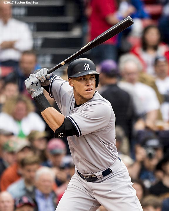 BOSTON, MA - JULY 14: Aaron Judge #99 of the New York Yankees bats during the first inning of a game against the Boston Red Sox on July 14, 2017 at Fenway Park in Boston, Massachusetts. (Photo by Billie Weiss/Boston Red Sox/Getty Images) *** Local Caption *** Aaron Judge