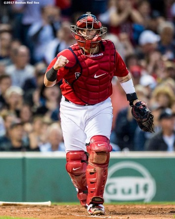 BOSTON, MA - JULY 14: Christian Vazquez #7 of the Boston Red Sox reacts after completing a double play during the third inning of a game against the New York Yankees on July 14, 2017 at Fenway Park in Boston, Massachusetts. (Photo by Billie Weiss/Boston Red Sox/Getty Images) *** Local Caption *** Christian Vazquez