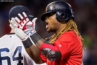 BOSTON, MA - JULY 14: Hanley Ramirez #13 of the Boston Red Sox reacts after hitting a single during the seventh inning of a game against the New York Yankees on July 14, 2017 at Fenway Park in Boston, Massachusetts. (Photo by Billie Weiss/Boston Red Sox/Getty Images) *** Local Caption *** Hanley Ramirez