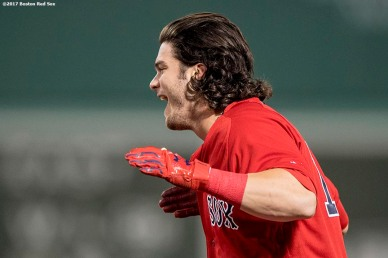 BOSTON, MA - JULY 14: Andrew Benintendi #16 of the Boston Red Sox reacts after being walked to drive in the game winning run during the ninth inning of a game against the New York Yankees on July 14, 2017 at Fenway Park in Boston, Massachusetts. (Photo by Billie Weiss/Boston Red Sox/Getty Images) *** Local Caption *** Andrew Benintendi