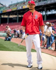 BOSTON, MA - JULY 15: Mookie Betts #50 of the Boston Red Sox looks on before a game against the New York Yankees on July 15, 2017 at Fenway Park in Boston, Massachusetts. (Photo by Billie Weiss/Boston Red Sox/Getty Images) *** Local Caption *** Mookie Betts