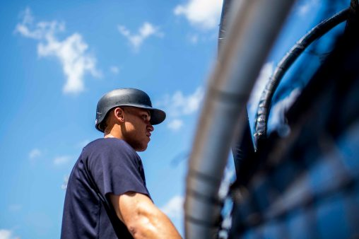 BOSTON, MA - JULY 15: Aaron Judge #99 of the New York Yankees looks on before a game against the Boston Red Sox on July 15, 2017 at Fenway Park in Boston, Massachusetts. (Photo by Billie Weiss/Boston Red Sox/Getty Images) *** Local Caption *** Aaron Judge