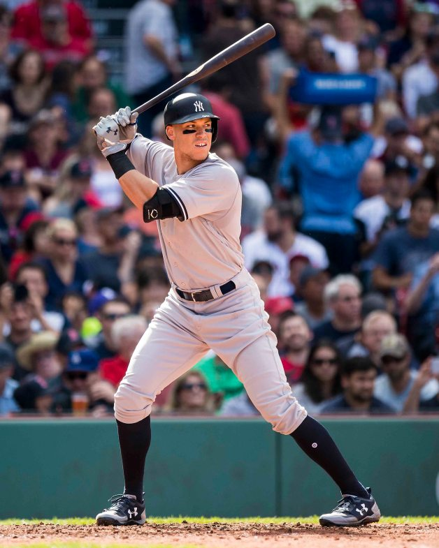 BOSTON, MA - JULY 15: Aaron Judge #99 of the New York Yankees bats during the fourth inning of a game against the Boston Red Sox on July 15, 2017 at Fenway Park in Boston, Massachusetts. (Photo by Billie Weiss/Boston Red Sox/Getty Images) *** Local Caption *** Aaron Judge