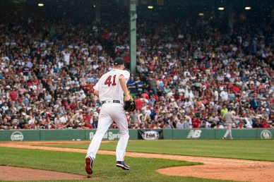 BOSTON, MA - JULY 15: Chris Sale #41 of the Boston Red Sox runs onto the field during the eighth inning of a game against the New York Yankees on July 15, 2017 at Fenway Park in Boston, Massachusetts. (Photo by Billie Weiss/Boston Red Sox/Getty Images) *** Local Caption *** Chris Sale