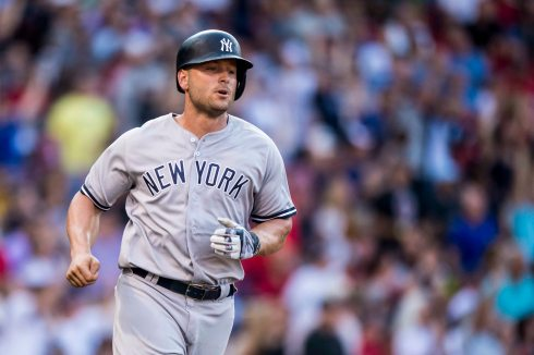 BOSTON, MA - JULY 15: Matt Holliday #17 of the New York Yankees rounds the bases after hitting a game tying solo home run during the ninth inning of a game against the Boston Red Sox on July 15, 2017 at Fenway Park in Boston, Massachusetts. (Photo by Billie Weiss/Boston Red Sox/Getty Images) *** Local Caption *** Matt Holliday