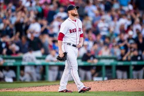 BOSTON, MA - JULY 15: Craig Kimbrel #46 of the Boston Red Sox reacts after allowing a game tying solo home run during the ninth inning of a game against the New York Yankees on July 15, 2017 at Fenway Park in Boston, Massachusetts. (Photo by Billie Weiss/Boston Red Sox/Getty Images) *** Local Caption *** Craig Kimbrel