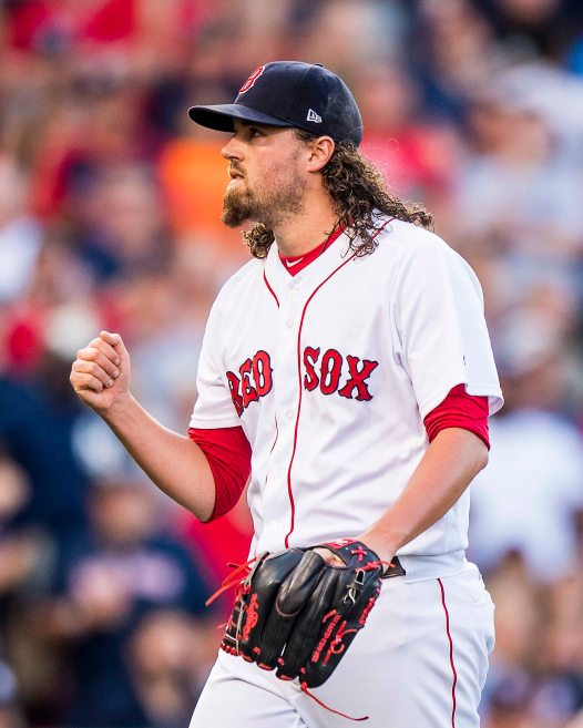 BOSTON, MA - JULY 15: Heath Hembree #37 of the Boston Red Sox reacts during the tenth inning of a game against the New York Yankees on July 15, 2017 at Fenway Park in Boston, Massachusetts. (Photo by Billie Weiss/Boston Red Sox/Getty Images) *** Local Caption *** Heath Hembree