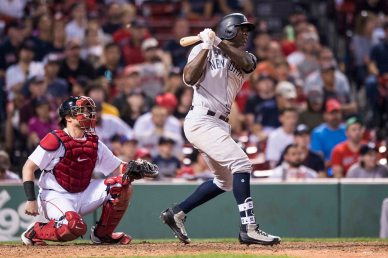 BOSTON, MA - JULY 15: Didi Gregorius #18 of the New York Yankees hits a go ahead RBI single during the sixteenth inning of a game against the New York Yankees on July 15, 2017 at Fenway Park in Boston, Massachusetts. (Photo by Billie Weiss/Boston Red Sox/Getty Images) *** Local Caption *** Didi Gregorius