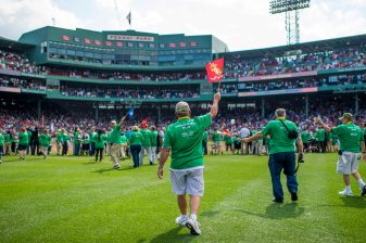 BOSTON, MA - JULY 15: Veterans are introduced onto the field during a ceremony honoring Vietnam Veterans before a game between the Boston Red Sox and the New York Yankees on July 15, 2017 at Fenway Park in Boston, Massachusetts. (Photo by Billie Weiss/Boston Red Sox/Getty Images) *** Local Caption ***