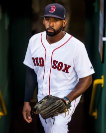 BOSTON, MA - JULY 16: Jackie Bradley Jr. #19 of the Boston Red Sox looks on before a game against the New York Yankees on July 16, 2017 at Fenway Park in Boston, Massachusetts. (Photo by Billie Weiss/Boston Red Sox/Getty Images) *** Local Caption *** Jackie Bradley Jr.