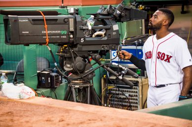 BOSTON, MA - JULY 16: Jackie Bradley Jr. #19 of the Boston Red Sox operates a camera before a game against the New York Yankees on July 16, 2017 at Fenway Park in Boston, Massachusetts. (Photo by Billie Weiss/Boston Red Sox/Getty Images) *** Local Caption *** Jackie Bradley Jr.