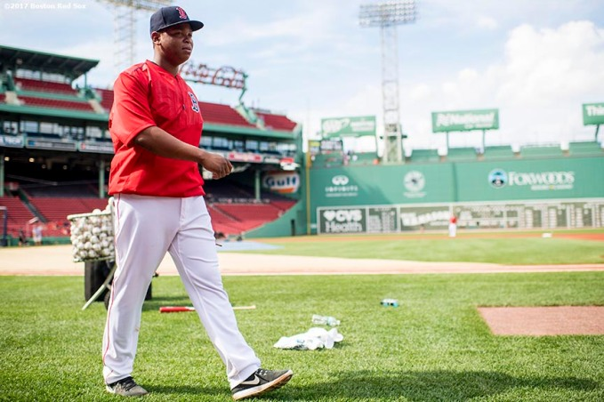 BOSTON, MA - JULY 28: Rafael Devers #11 of the Boston Red Sox walks off the field before a game against the Kansas City Royals on July 28, 2017 at Fenway Park in Boston, Massachusetts. (Photo by Billie Weiss/Boston Red Sox/Getty Images) *** Local Caption *** Rafael Devers