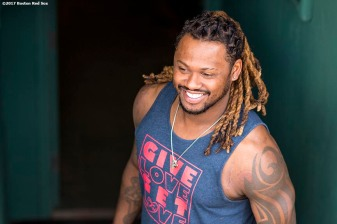 BOSTON, MA - JULY 28: Hanley Ramirez #13 of the Boston Red Sox looks on before a game against the Kansas City Royals on July 28, 2017 at Fenway Park in Boston, Massachusetts. (Photo by Billie Weiss/Boston Red Sox/Getty Images) *** Local Caption *** Hanley Ramirez