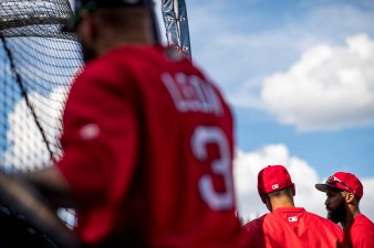BOSTON, MA - JULY 28: Members of the Boston Red Sox take batting practice before a game against the Kansas City Royals on July 28, 2017 at Fenway Park in Boston, Massachusetts. (Photo by Billie Weiss/Boston Red Sox/Getty Images) *** Local Caption ***