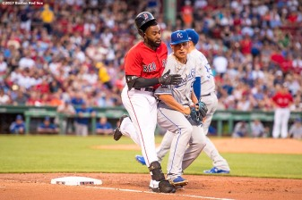 BOSTON, MA - JULY 28: Jackie Bradley Jr. #19 of the Boston Red Sox collides with Jason Vargas #51 of the Kansas City Royals during the second inning of a game against the Kansas City Royals on July 28, 2017 at Fenway Park in Boston, Massachusetts. (Photo by Billie Weiss/Boston Red Sox/Getty Images) *** Local Caption *** Jackie Bradley Jr.; Jason Vargas