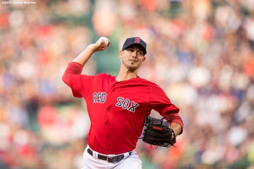 BOSTON, MA - JULY 28: Rick Porcello #22 of the Boston Red Sox delivers during the first inning of a game against the Kansas City Royals on July 28, 2017 at Fenway Park in Boston, Massachusetts. (Photo by Billie Weiss/Boston Red Sox/Getty Images) *** Local Caption *** Rick Porcello