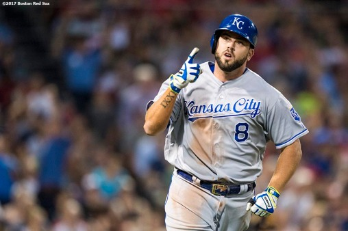 BOSTON, MA - JULY 28: Mike Moustakas #8 of the Kansasa City Royals reacts after hitting a three run home run during the fourth inning of a game against the Boston Red Sox on July 28, 2017 at Fenway Park in Boston, Massachusetts. (Photo by Billie Weiss/Boston Red Sox/Getty Images) *** Local Caption *** Mike Moustakas