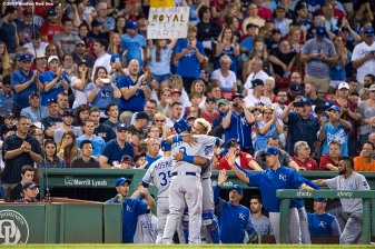 BOSTON, MA - JULY 28: Mike Moustakas #8 of the Kansasa City Royals reacts with Salvador Perez #13 after hitting a three run home run during the fourth inning of a game against the Boston Red Sox on July 28, 2017 at Fenway Park in Boston, Massachusetts. (Photo by Billie Weiss/Boston Red Sox/Getty Images) *** Local Caption *** Mike Moustakas; Salvador Perez