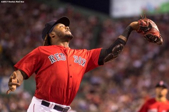 BOSTON, MA - JULY 28: Hanley Ramirez #13 of the Boston Red Sox catches a fly ball during the fifth inning of a game against the Kansas City Royals on July 28, 2017 at Fenway Park in Boston, Massachusetts. (Photo by Billie Weiss/Boston Red Sox/Getty Images) *** Local Caption *** Hanley Ramirez