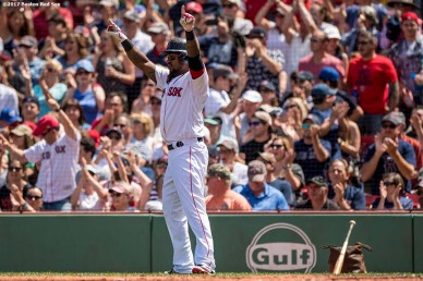 BOSTON, MA - JULY 30: Hanley Ramirez #13 of the Boston Red Sox reacts after scoring during the second inning of a game against the Kansas City Royals on July 30, 2017 at Fenway Park in Boston, Massachusetts. (Photo by Billie Weiss/Boston Red Sox/Getty Images) *** Local Caption *** Hanley Ramirez