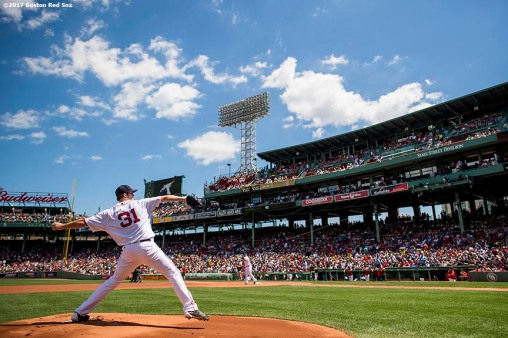 BOSTON, MA - JULY 30: Drew Pomeranz #31 of the Boston Red Sox warms up before the first inning of a game against the Kansas City Royals on July 30, 2017 at Fenway Park in Boston, Massachusetts. (Photo by Billie Weiss/Boston Red Sox/Getty Images) *** Local Caption *** Drew Pomeranz