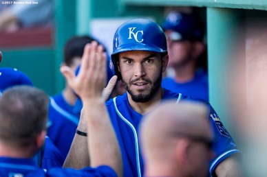 BOSTON, MA - JULY 30: Eric Hosmer #35 of the Kansas City Royals high fives teammates after scoring during the eighth inning of a game against the Boston Red Sox on July 30, 2017 at Fenway Park in Boston, Massachusetts. (Photo by Billie Weiss/Boston Red Sox/Getty Images) *** Local Caption *** Eric Hosmer