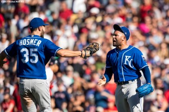 BOSTON, MA - JULY 30: Kelvin Herrera #40 and Eric Hosmer #35 of the Kansas City Royals celebrates a victory against the Boston Red Sox on July 30, 2017 at Fenway Park in Boston, Massachusetts. (Photo by Billie Weiss/Boston Red Sox/Getty Images) *** Local Caption *** Kelvin Herrera; Eric Hosmer