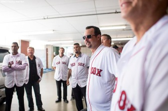 BOSTON, MA - JULY 30: Former Boston Red Sox player Tim Wakefield looks on during a 2007 World Series Champion team reunion before a game against the Kansas City Royals on July 30, 2017 at Fenway Park in Boston, Massachusetts. (Photo by Billie Weiss/Boston Red Sox/Getty Images) *** Local Caption *** Tim Wakefield