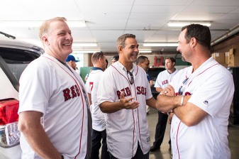 BOSTON, MA - JULY 30: Former Boston Red Sox players Curt Schilling, Mike Lowell, and Tim Wakefield talk during a 2007 World Series Champion team reunion before a game against the Kansas City Royals on July 30, 2017 at Fenway Park in Boston, Massachusetts. (Photo by Billie Weiss/Boston Red Sox/Getty Images) *** Local Caption *** Curt Schilling, Tim Wakefield, Mike Lowell