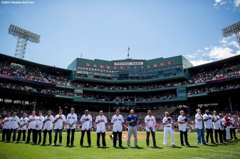 BOSTON, MA - JULY 30: Members of the Boston Red Sox 2007 World Series Champion team look on during a reunion ceremony before a game against the Kansas City Royals on July 30, 2017 at Fenway Park in Boston, Massachusetts. (Photo by Billie Weiss/Boston Red Sox/Getty Images) *** Local Caption ***