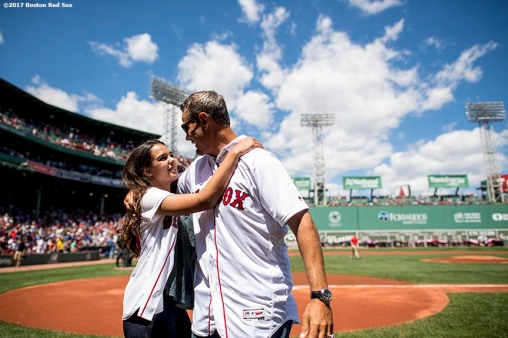 BOSTON, MA - JULY 30: Former Boston Red Sox player Mike Lowell hugs his daughter Alexis Lowell after she sung the National Anthem during a 2007 World Series Champion team reunion before a game against the Kansas City Royals on July 30, 2017 at Fenway Park in Boston, Massachusetts. (Photo by Billie Weiss/Boston Red Sox/Getty Images) *** Local Caption *** Alexis Lowell; Mike Lowell