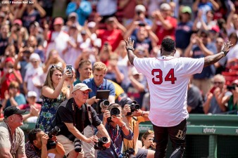 BOSTON, MA - JULY 30: Former Boston Red Sox player David Ortiz is introduced during a 2007 World Series Champion team reunion before a game against the Kansas City Royals on July 30, 2017 at Fenway Park in Boston, Massachusetts. (Photo by Billie Weiss/Boston Red Sox/Getty Images) *** Local Caption *** David Ortiz