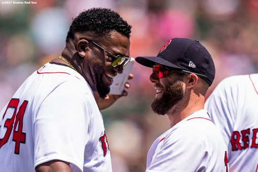 BOSTON, MA - JULY 30: Dustin Pedroia #15 of the Boston Red Sox reacts with David Ortiz #34 during a 2007 World Series Champion team reunion before a game against the Kansas City Royals on July 30, 2017 at Fenway Park in Boston, Massachusetts. (Photo by Billie Weiss/Boston Red Sox/Getty Images) *** Local Caption *** Dustin Pedroia; David Ortiz