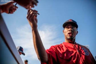 BOSTON, MA - JULY 31: Xander Bogaerts #2 of the Boston Red Sox signs autographs before a game against the Cleveland Indians on July 31, 2017 at Fenway Park in Boston, Massachusetts. (Photo by Billie Weiss/Boston Red Sox/Getty Images) *** Local Caption *** Xander Bogaerts