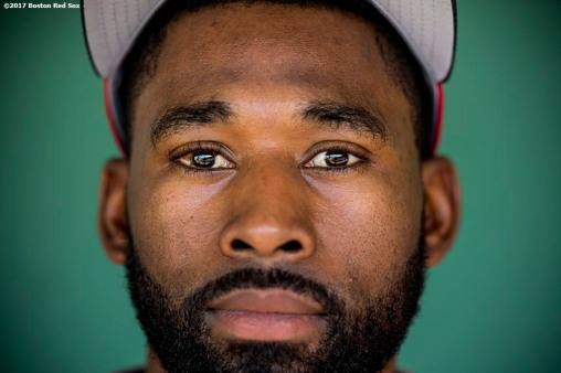 BOSTON, MA - JULY 31: Jackie Bradley Jr. #19 of the Boston Red Sox poses for a portrait before a game against the Cleveland Indians on July 31, 2017 at Fenway Park in Boston, Massachusetts. (Photo by Billie Weiss/Boston Red Sox/Getty Images) *** Local Caption *** Jackie Bradley Jr.