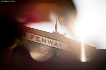 BOSTON, MA - JULY 31: The Fenway Park facade is shown before a game between the Boston Red Sox and the Cleveland Indians on July 31, 2017 at Fenway Park in Boston, Massachusetts. (Photo by Billie Weiss/Boston Red Sox/Getty Images) *** Local Caption ***