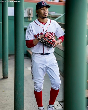 BOSTON, MA - JULY 31: Mookie Betts #50 of the Boston Red Sox walks through the dugout before a game against the Cleveland Indians on July 31, 2017 at Fenway Park in Boston, Massachusetts. (Photo by Billie Weiss/Boston Red Sox/Getty Images) *** Local Caption *** Mookie Betts