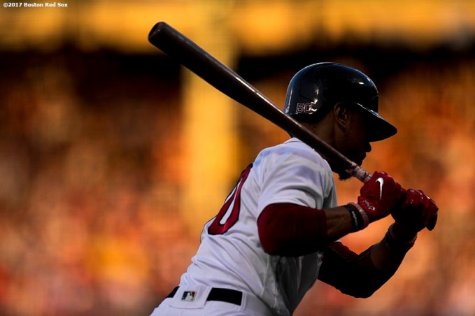 BOSTON, MA - JULY 31: Mookie Betts #50 of the Boston Red Sox bats during the first inning of a game against the Cleveland Indians on July 31, 2017 at Fenway Park in Boston, Massachusetts. (Photo by Billie Weiss/Boston Red Sox/Getty Images) *** Local Caption *** Mookie Betts